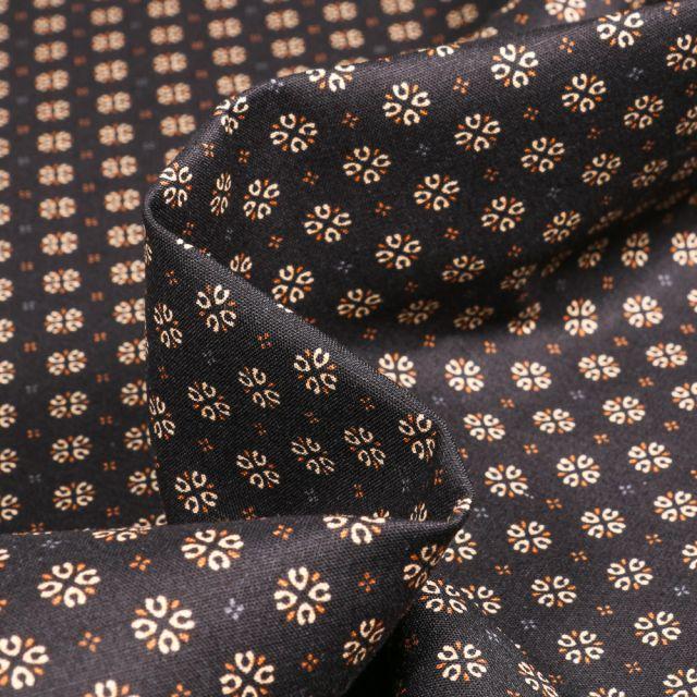 Tissu Coton popeline imprimé Irina sur fond Noir