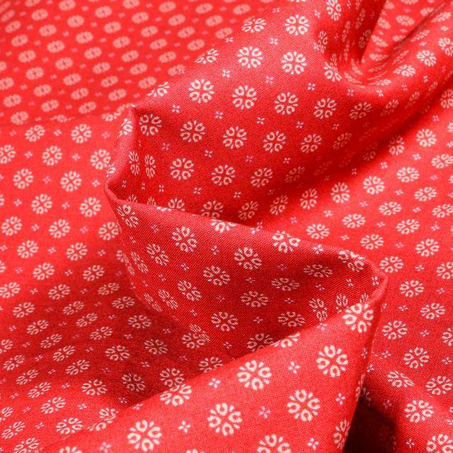 Tissu Coton popeline imprimé Irina sur fond Rouge