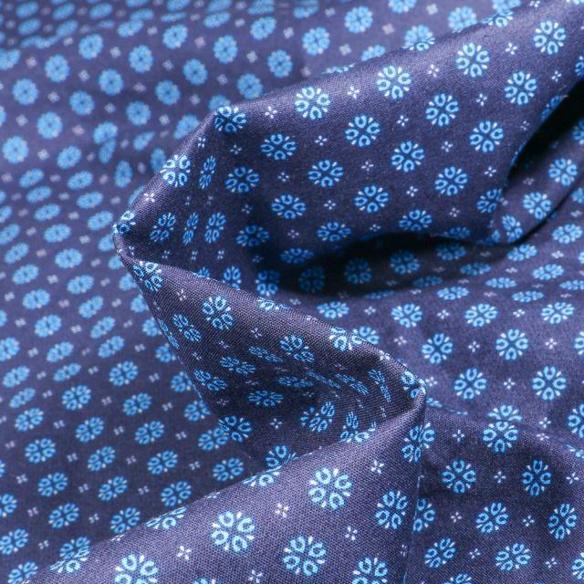 Tissu Coton popeline imprimé Irina sur fond Bleu marine