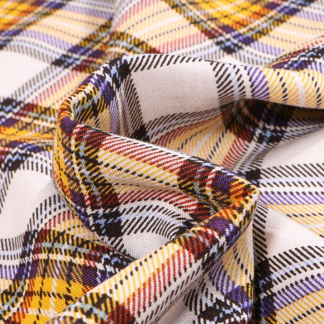 Tissu Viscose Carreaux écossais sur fond Jaune
