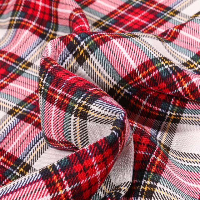 Tissu Viscose Carreaux écossais sur fond Rouge