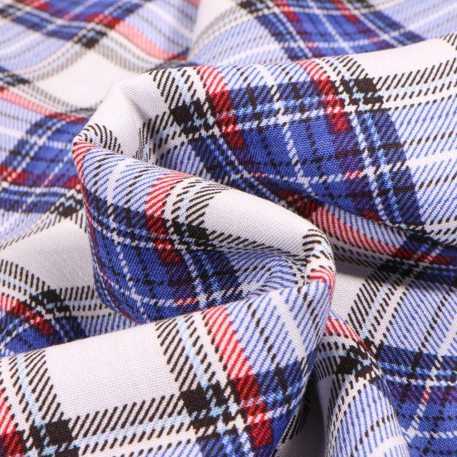 Tissu Viscose Carreaux écossais sur fond Bleu