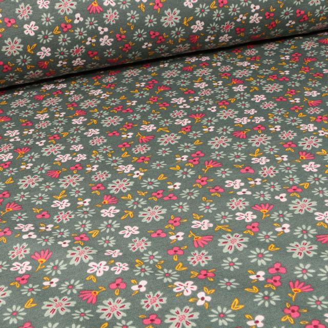 Tissu Sweat envers minky Flowers sur fond Vert kaki