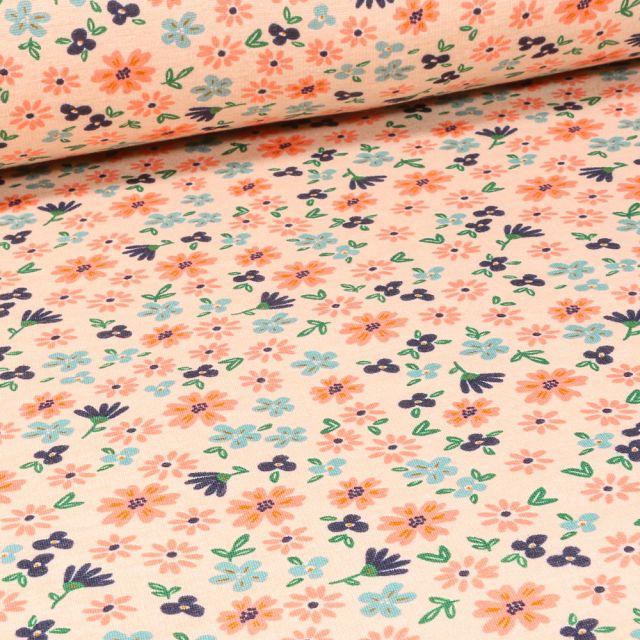 Tissu Sweat envers minky Flowers sur fond Beige