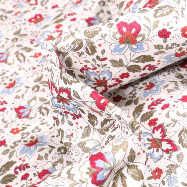 Tissu Coton popeline imprimé Julietta rouge sur fond Blanc