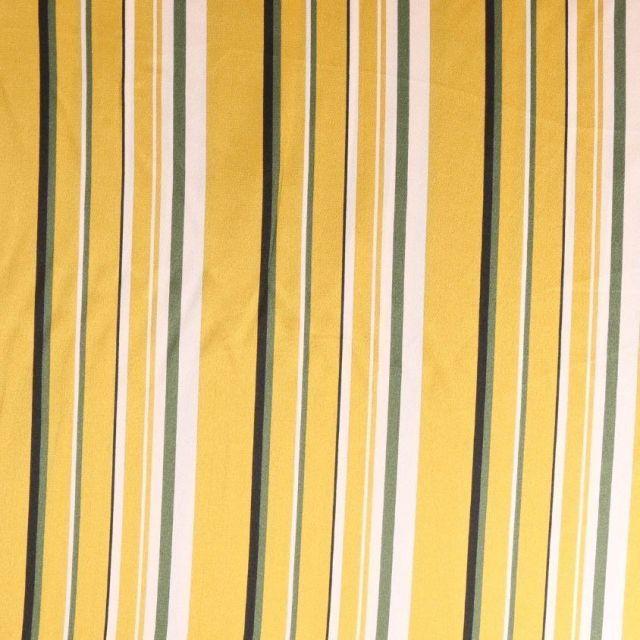 Tissu satin  Rayures noires blanches et kaki sur fond Jaune or - Par 10 cm