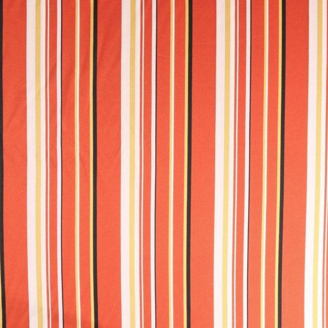 Tissu satin  Rayures noires blanches et ocre sur fond Rouille - Par 10 cm