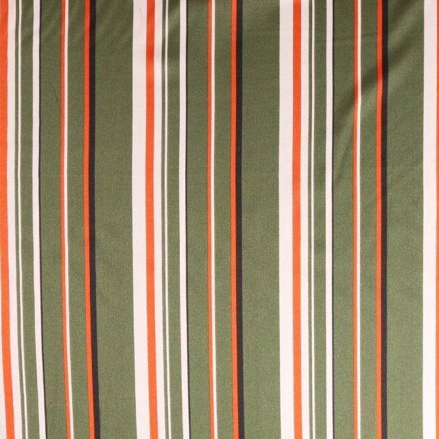 Tissu satin  Rayures noires rouille et blanches sur fond Vert kaki foncé - Par 10 cm