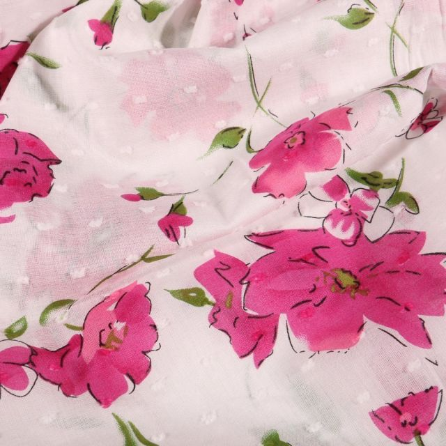 Tissu Plumetis Coton Fleurs rose sur fond Blanc - Par 10 cm