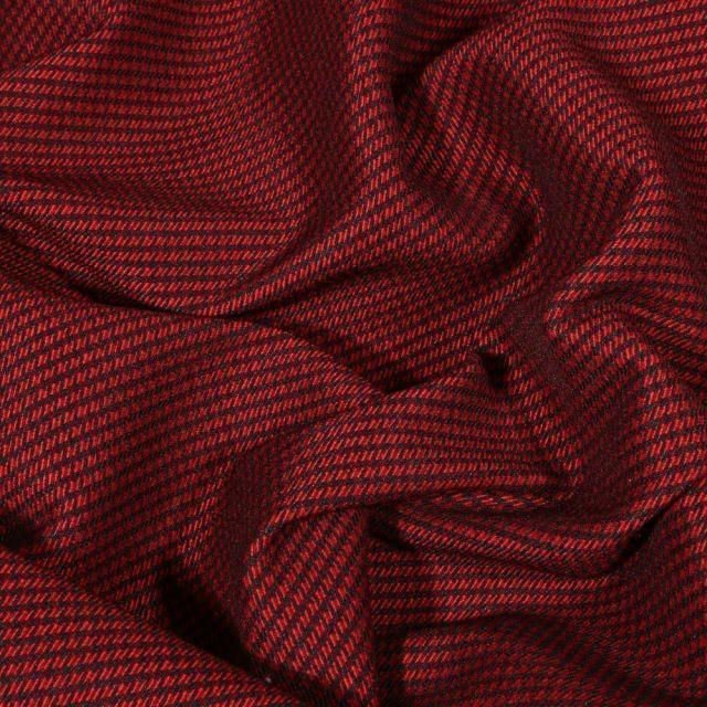 Tissu Gabardine extensible Mini Pied de poule sur fond Rouge - Par 10 cm