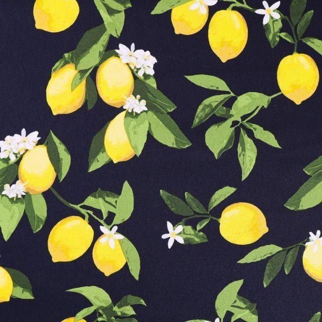 Tissu Coton Satiné Citrons sur fond Bleu marine - Par 10 cm