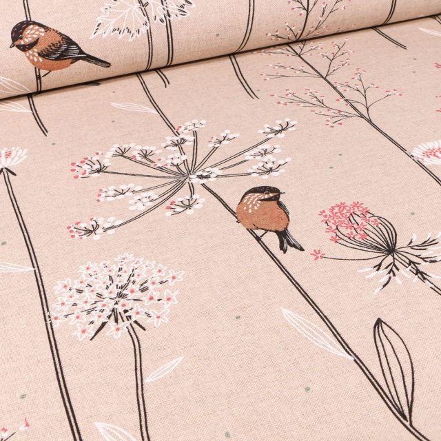 Tissu Toile de Coton Rouge-gorge  et fleurs sur fond Naturel