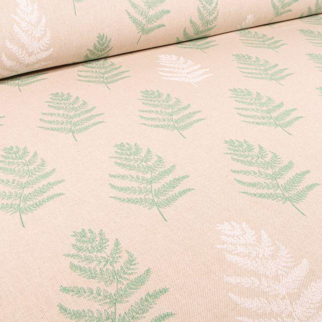 Tissu Toile de Coton Branches de fougères sur fond Naturel
