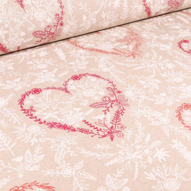 Tissu Toile de Coton Cœurs fleuris sur fond Naturel