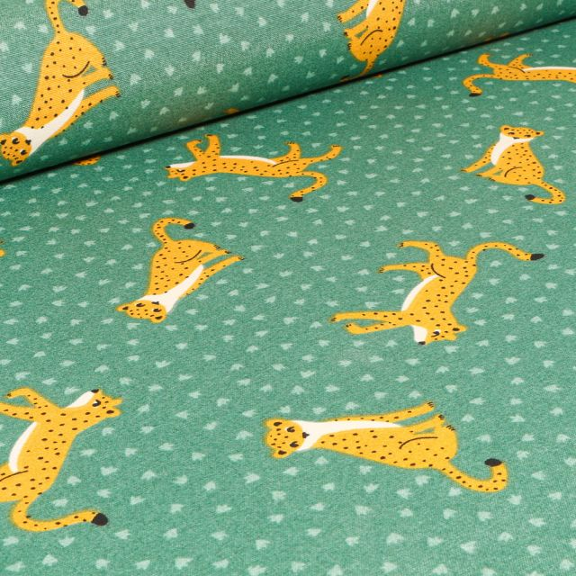 Tissu Toile de Coton Ottoman Jaguar sur fond Vert