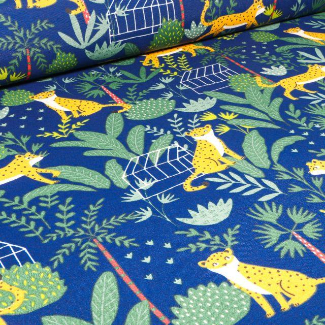 Tissu Toile de Coton Ottoman Jaguar et végétations sur fond Bleu roi