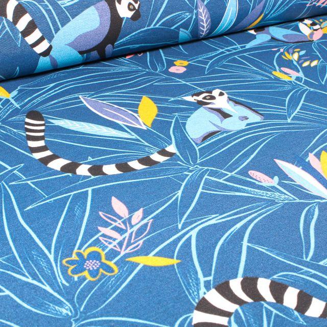 Tissu Toile de Coton Ottoman Lémurien et végétations sur fond Bleu