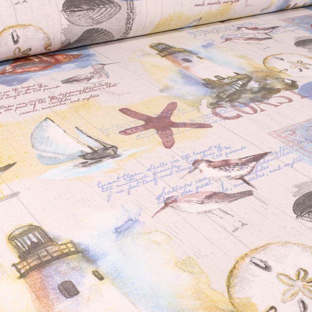 Tissu Toile de Coton Ottoman Phares et motifs marins sur fond Blanc cassé