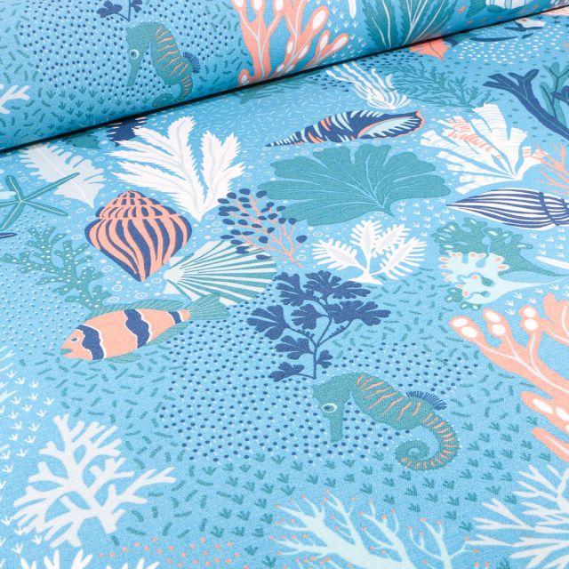 Tissu Toile de Coton Ottoman Hippocampes et fonds marins sur fond Bleu
