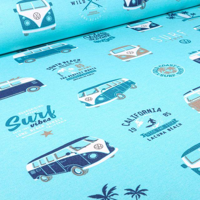 Tissu Toile de Coton Ottoman sous licence Van Volkswagen surf vibes sur fond Bleu turquoise