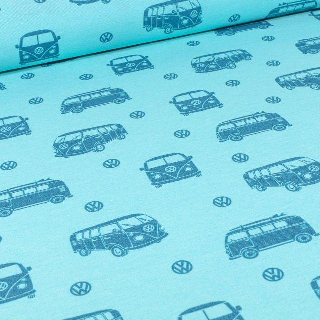 Tissu Toile de Coton Ottoman sous licence Van Volkswagen sur fond Bleu turquoise