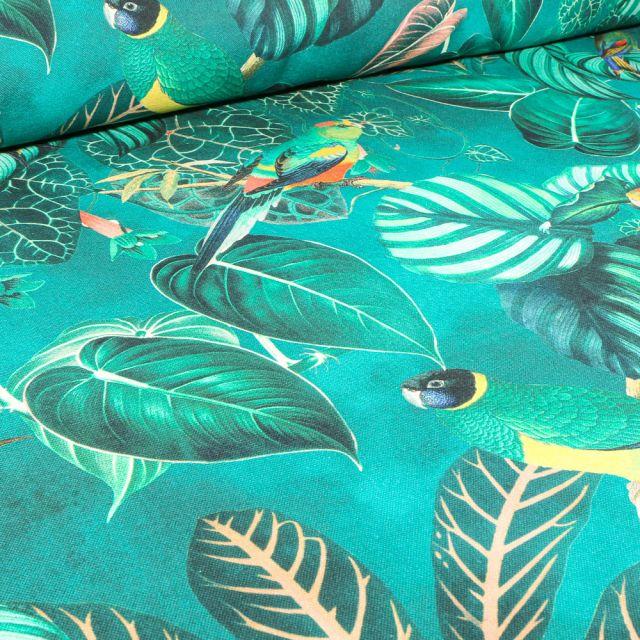 Tissu Toile de Coton Demi-Panama Premium Feuilles tropical et toucan sur fond Bleu turquoise