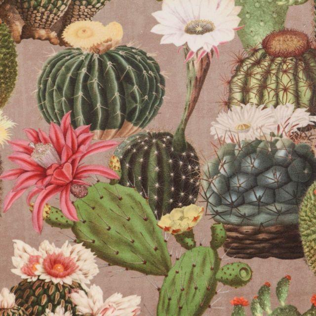 Tissu Velours ras épais tout doux Cactus verts, roses et blancs sur fond Taupe - Par 10 cm