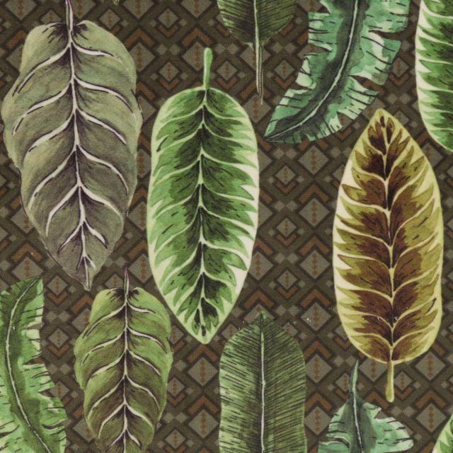Tissu Velours ras épais tout doux Feuilles vertes sur fond Kaki - Par 10 cm