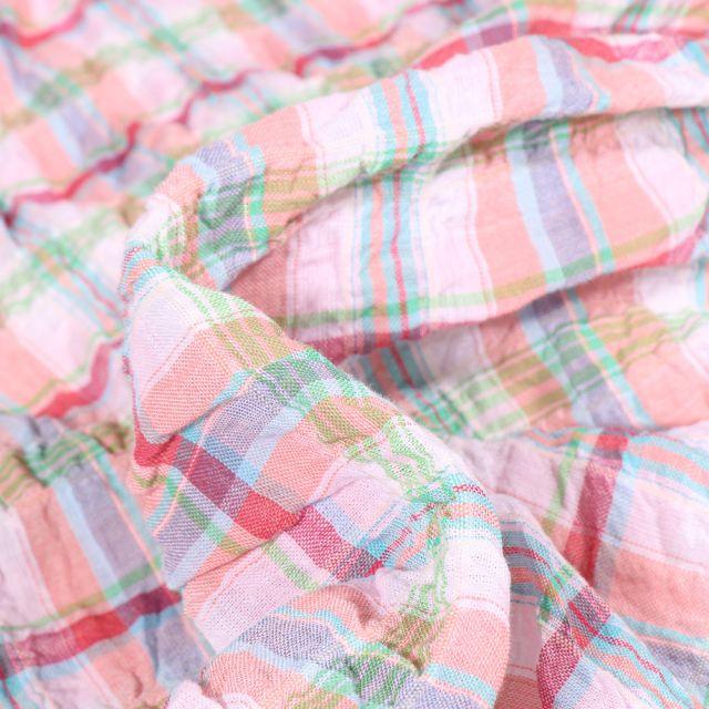 Tissu Chemise Gauffré Carreaux n°1 sur fond Saumon