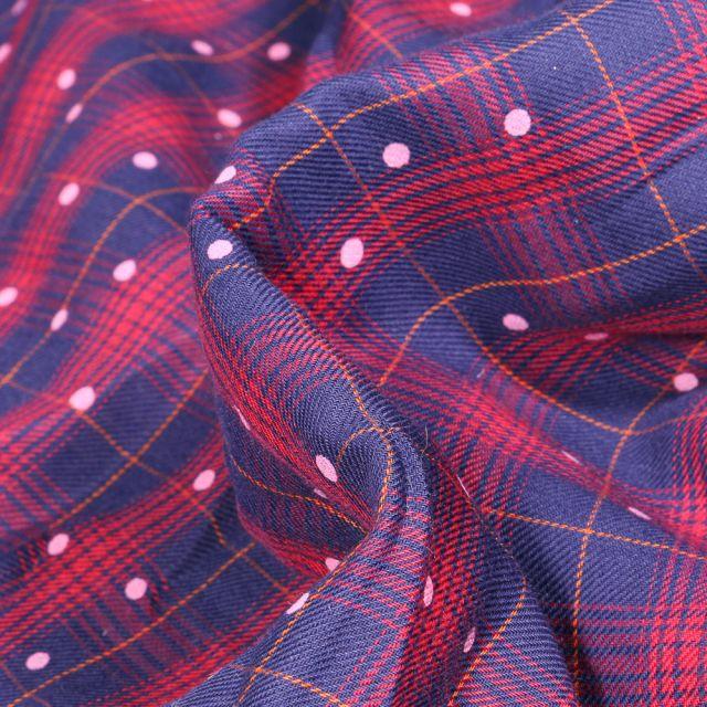 Tissu Chemise  Carreaux n°26 sur fond Bleu marine