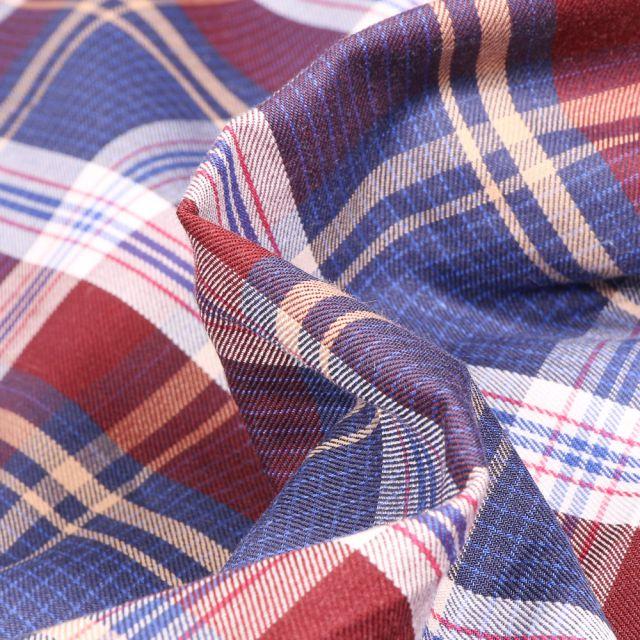 Tissu Chemise Carreaux n°27 sur fond Bleu marine