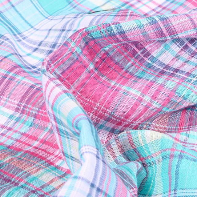 Tissu Chemise Carreaux n°3 sur fond Bleu turquoise