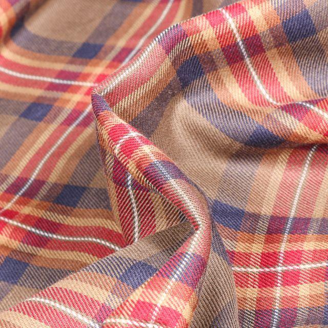 Tissu Chemise  Carreaux n°28 sur fond Marron foncé