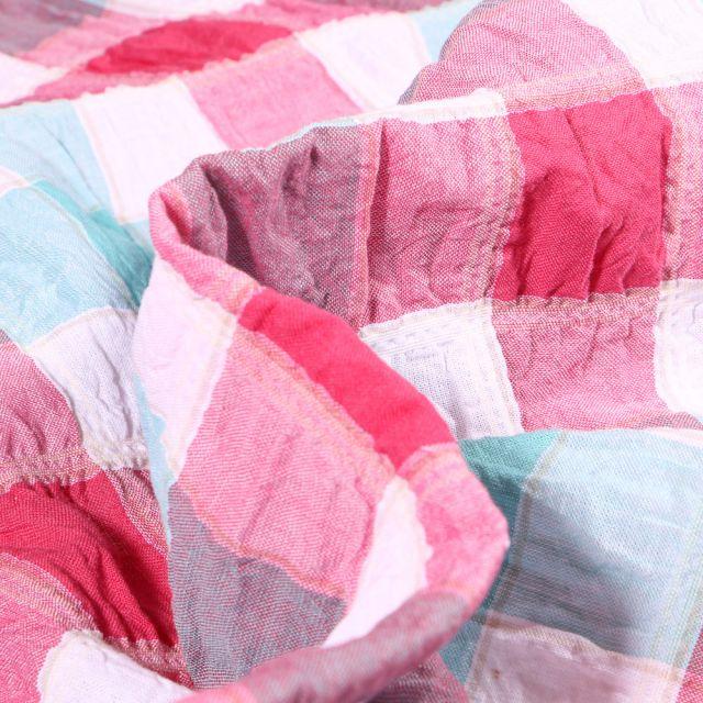 Tissu Chemise Gauffré Carreaux n°4 sur fond Blanc