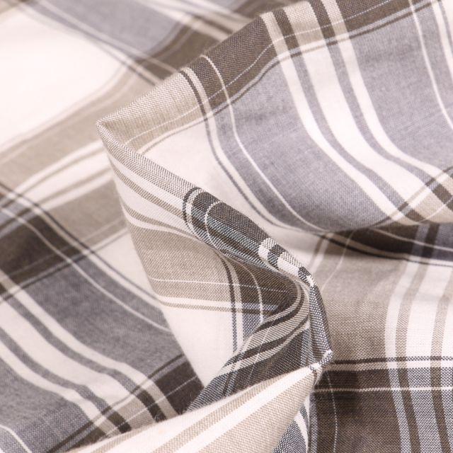 Tissu Chemise Carreaux n°6 sur fond Blanc