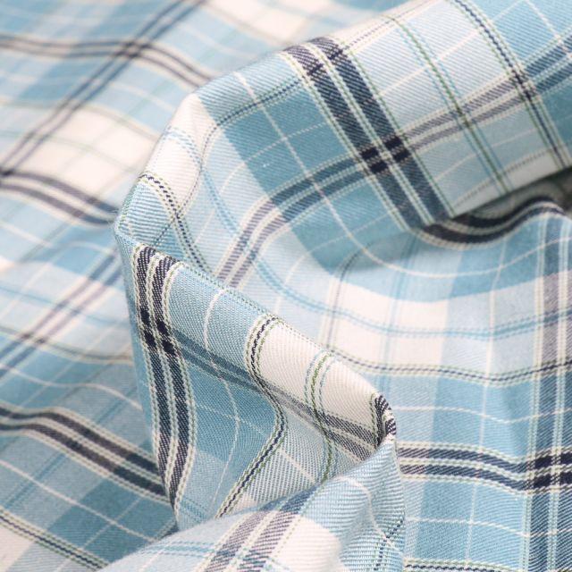 Tissu Chemise  Carreaux n°7 sur fond Bleu