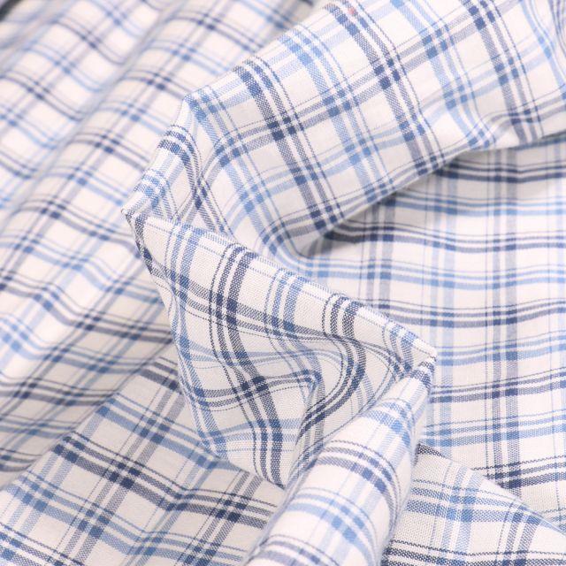 Tissu Chemise  Carreaux n°8 sur fond Blanc cassé