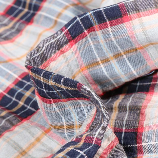 Tissu Chemise gaufré Carreaux n°11 sur fond Bleu gris