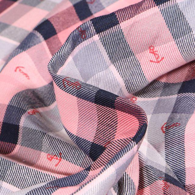 Tissu Chemise  Carreaux n°14 sur fond Rose pâle