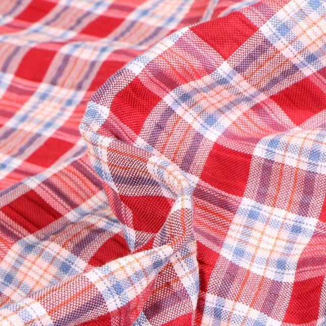 Tissu Chemise   Carreaux n°15 sur fond Rouge