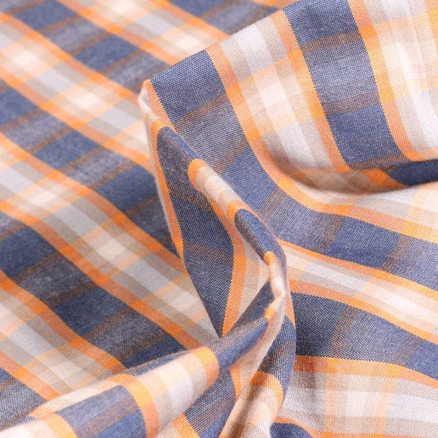 Tissu Chemise  Carreaux n°16 sur fond Bleu denim