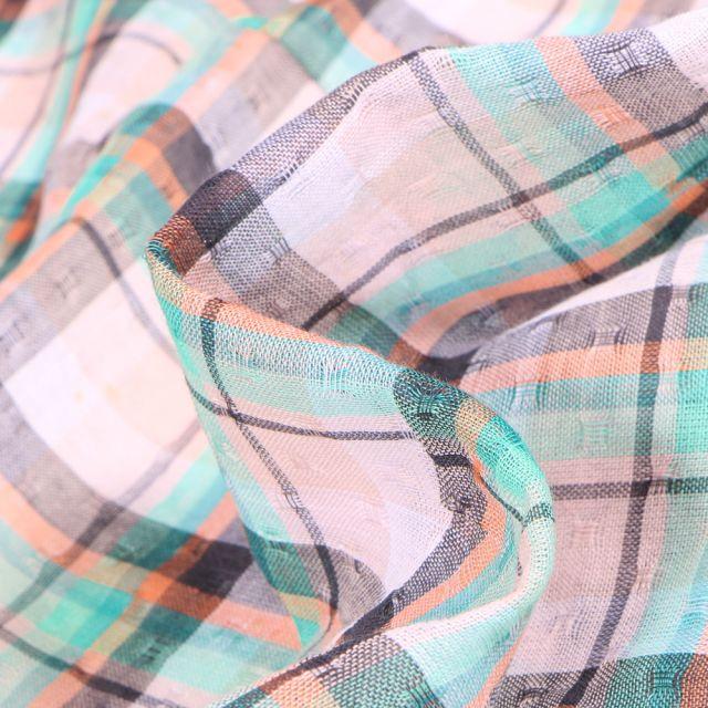 Tissu Chemise Carreaux n°18 sur fond Vert menthe