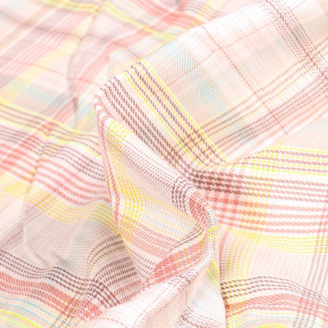 Tissu Chemise Carreaux n°19 sur fond Blanc cassé