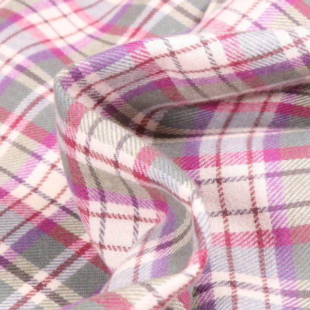 Tissu Chemise  Carreaux n°21 sur fond Gris