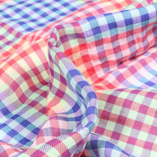 Tissu Chemise  Carreaux n°22 sur fond Bleu