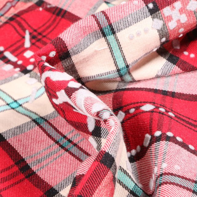 Tissu Chemise Carreaux n°24 sur fond Rouge