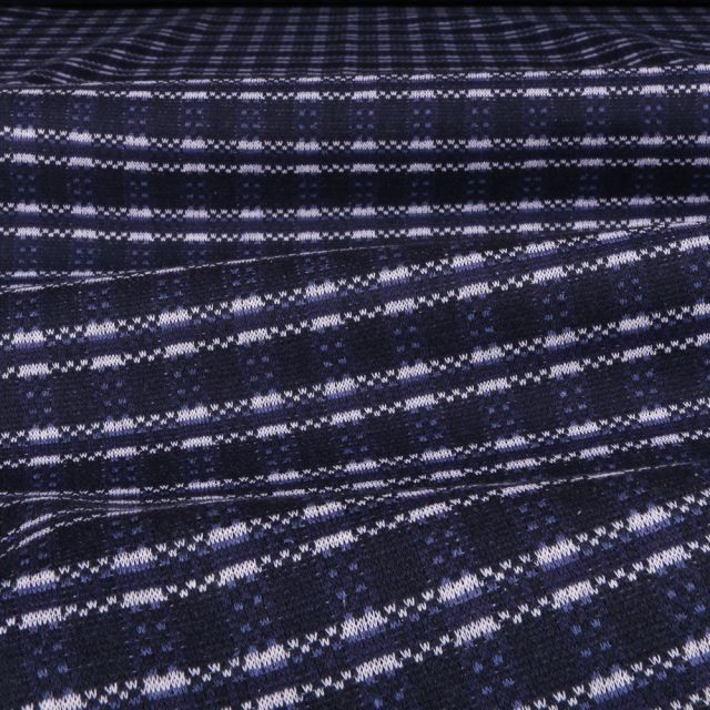 Tissu Gianni Maille Jersey Bleu foncé Traits Blancs - Par 10 cm