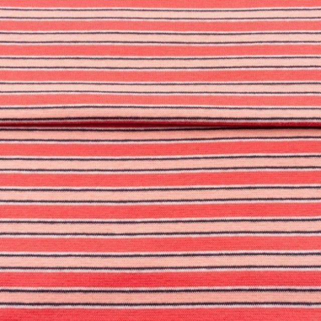 Tissu Bord côte Rayures Pêches sur fond Rouge - Par 10 cm