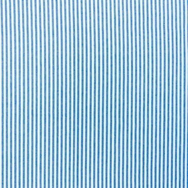 Tissus Jeans Rayures Bleu sur fond Blanc - Par 10 cm