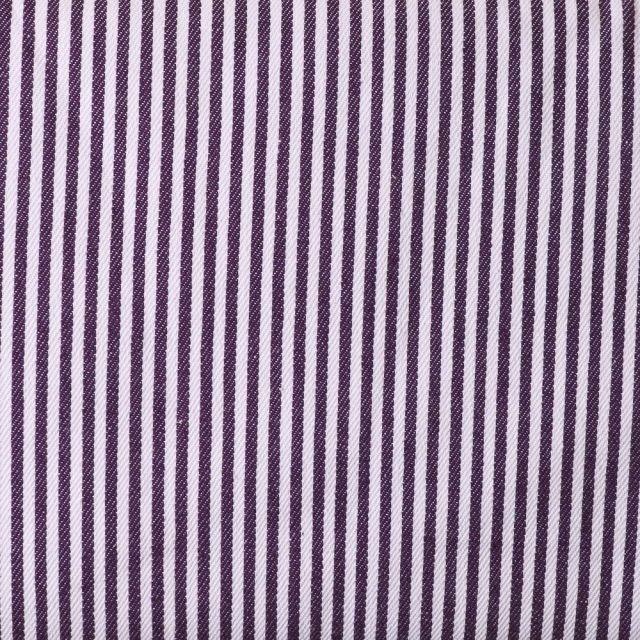 Tissus Jeans Rayures Violet sur fond Blanc - Par 10 cm